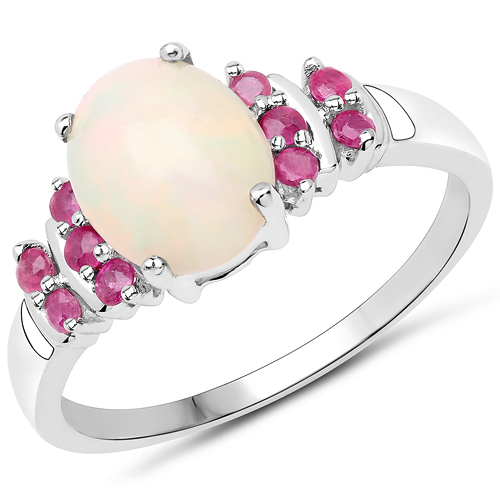 Opal-2.04 Carat Ethiopian Opal and Glass Filled Ruby .925 Sterling Silver Ring
