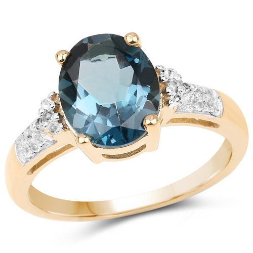 Rings-14K Yellow Gold Plated 3.71 Carat Genuine London Blue Topaz and White Topaz .925 Sterling Silver Ring
