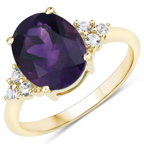 Amethyst-3.44 Carat Genuine Amethyst and White Topaz 10K Yellow Gold Ring