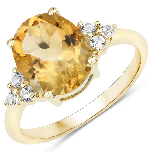 Citrine-3.04 Carat Genuine Citrine and White Topaz 10K Yellow Gold Ring