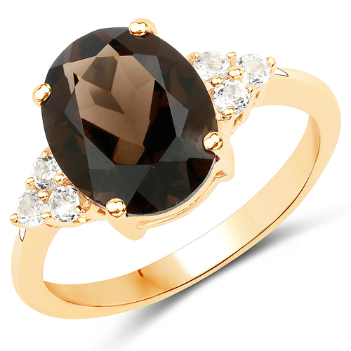 Rings-3.23 Carat Genuine Smoky Quartz and White Topaz 10K Yellow Gold Ring