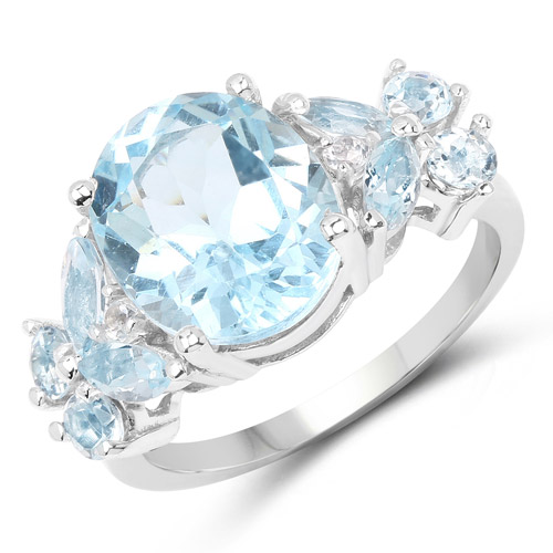 Rings-6.50 Carat Genuine Blue Topaz .925 Sterling Silver Ring