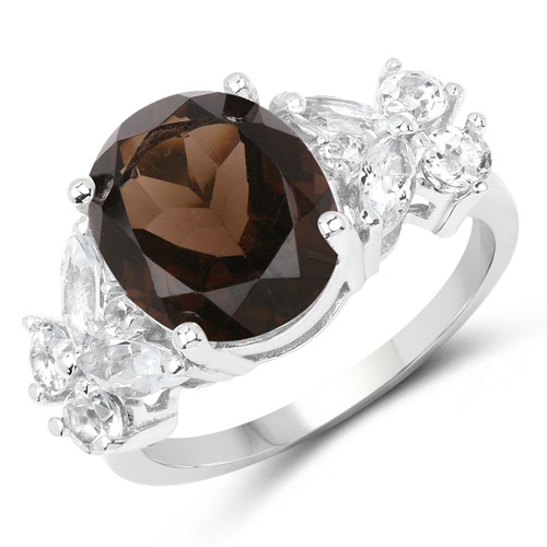 Rings-5.85 Carat Genuine Smoky Quartz and White Topaz .925 Sterling Silver Ring