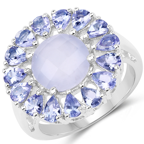 Rings-8.10 Carat Genuine Blue Chelcedonia & Tanzanite .925 Sterling Silver Ring