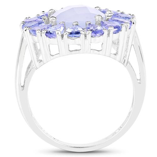 8.10 Carat Genuine Blue Chelcedonia & Tanzanite .925 Sterling Silver Ring