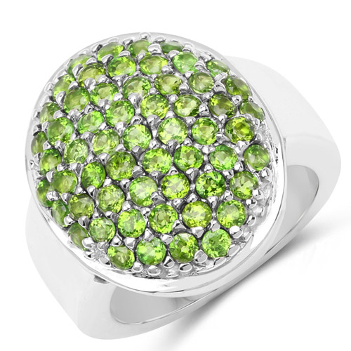Rings-2.85 Carat Genuine Chrome Diopside .925 Sterling Silver Ring