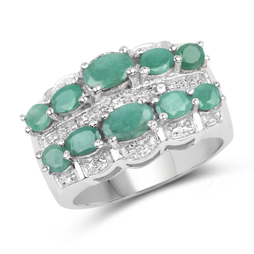 Emerald-1.83 Carat Genuine Emerald and White Topaz .925 Sterling Silver Ring