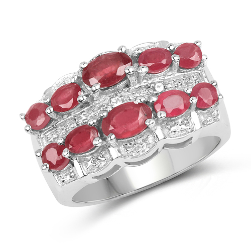 Ruby-2.41 Carat Genuine Glass Filled Ruby & White Topaz .925 Sterling Silver Ring
