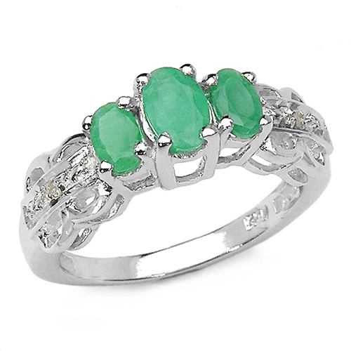 Emerald-0.92 Carat Genuine Emerald and 0.01 ct.t.w Genuine Diamond Accents Sterling Silver Ring