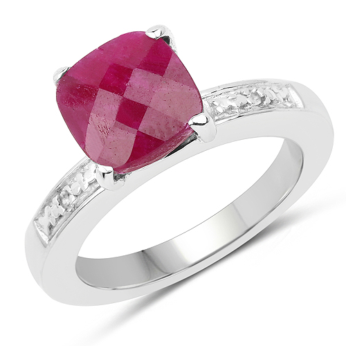 Ruby-3.70 Carat Dyed Ruby and White Topaz .925 Sterling Silver Ring