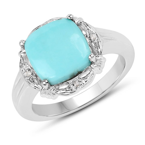 Rings-3.31 Carat Genuine Turquoise and White Topaz .925 Sterling Silver Ring