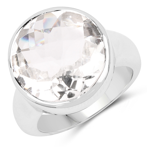 Rings-10.25 Carat Genuine Crystal Quartz .925 Sterling Silver Ring