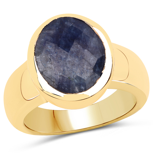 Sapphire-14K Yellow Gold Plated 5.25 Carat Dyed Sapphire .925 Sterling Silver Ring