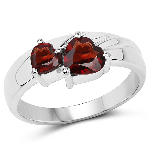 1.31 Carat Genuine Garnet .925 Sterling Silver Ring