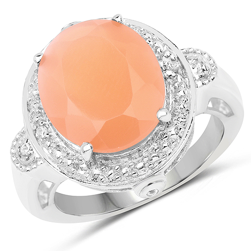 Rings-8.09 Carat Genuine Peach Moonstone and White Topaz .925 Sterling Silver Ring