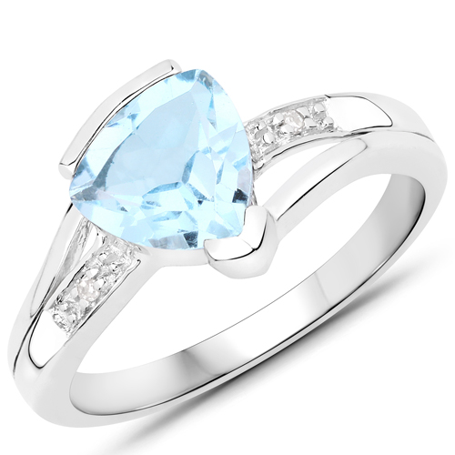Rings-2.01 Carat Genuine Blue Topaz and White Diamond .925 Sterling Silver Ring