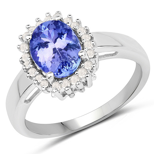 Tanzanite-1.96 Carat Genuine Tanzanite and White Diamond .925 Sterling Silver Ring