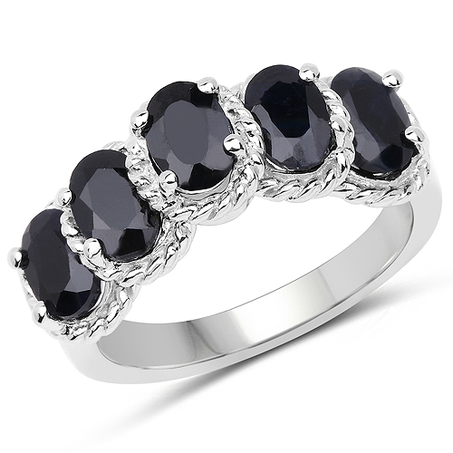 Sapphire-2.75 Carat Genuine Black Sapphire .925 Sterling Silver Ring