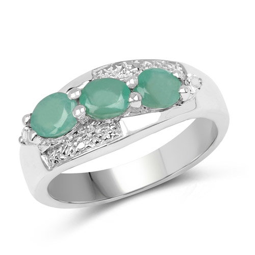 Emerald-0.68 Carat Genuine Emerald and White Topaz .925 Sterling Silver Ring