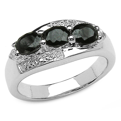 Sapphire-1.58 Carat Genuine Black Sapphire & White Topaz .925 Sterling Silver Ring