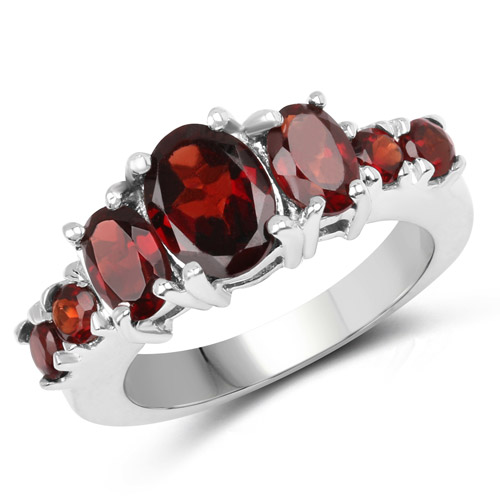 Garnet-3.14 Carat Genuine Garnet .925 Sterling Silver Ring
