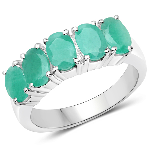 Emerald-2.20 Carat Genuine Emerald .925 Sterling Silver Ring