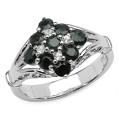 Sapphire-1.26 Carat Genuine Black Sapphire & White Topaz .925 Sterling Silver Ring