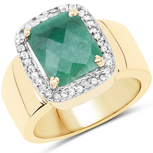 Emerald-14K Yellow Gold Plated 6.12 Carat Dyed Emerald and White Topaz .925 Sterling Silver Ring