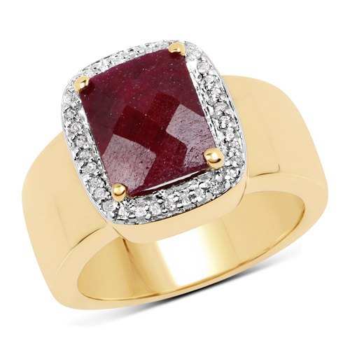 Ruby-14K Yellow Gold Plated 5.00 Carat Dyed Ruby and White Topaz .925 Sterling Silver Ring