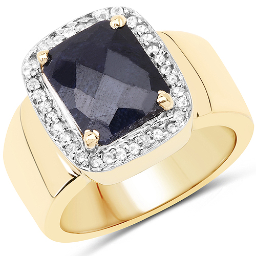Sapphire-14K Yellow Gold Plated 4.07 Carat Dyed Sapphire and White Topaz .925 Sterling Silver Ring