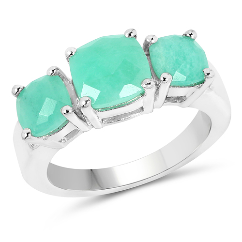 Emerald-3.45 Carat Genuine Emerald .925 Sterling Silver Ring