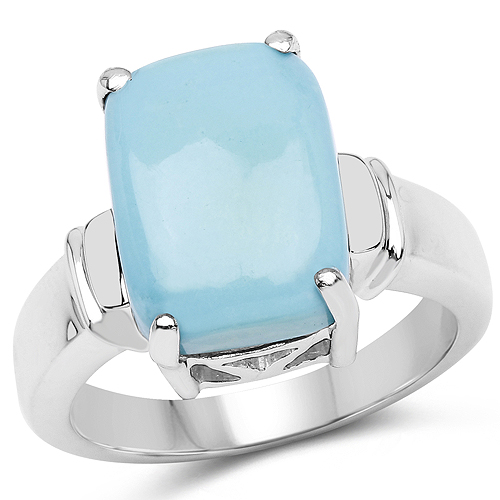 Rings-4.57 Carat Genuine Turquoise .925 Sterling Silver Ring