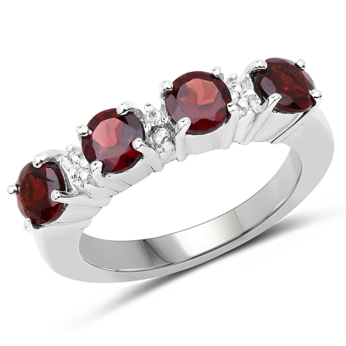 Garnet-2.64 Carat Genuine Garnet and White Topaz .925 Sterling Silver Ring
