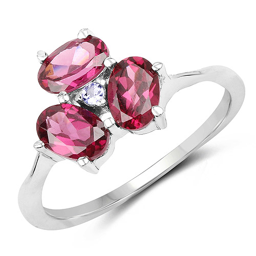 Rhodolite-1.58 Carat Genuine Rhodolite and Tanzanite .925 Sterling Silver Ring