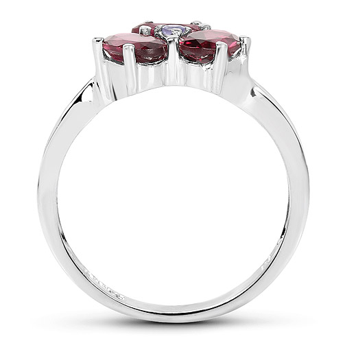 1.58 Carat Genuine Rhodolite and Tanzanite .925 Sterling Silver Ring