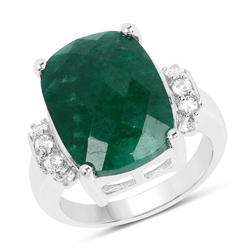 Emerald-8.50 Carat Dyed Emerald and White Topaz .925 Sterling Silver Ring