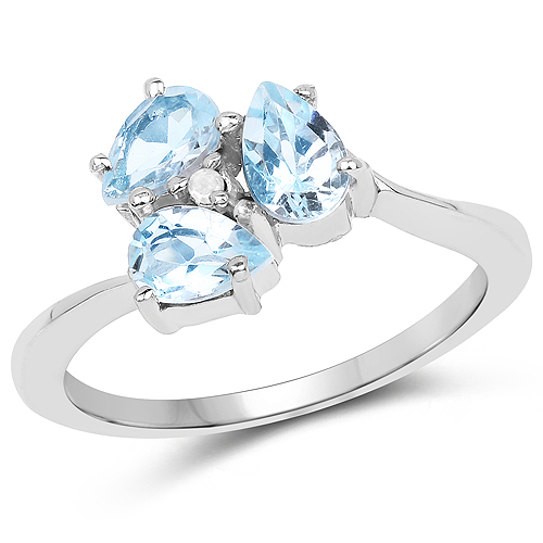 Rings-1.46 Carat Genuine Blue Topaz and White Diamond .925 Sterling Silver Ring