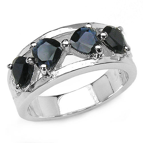 Sapphire-2.00 Carat Genuine Black Sapphire .925 Sterling Silver Ring