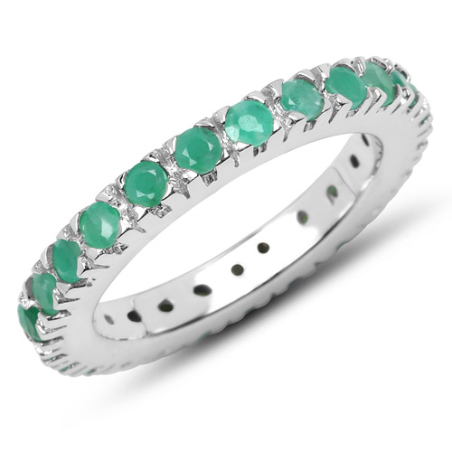 Emerald-1.27 Carat Genuine Emerald .925 Sterling Silver Ring