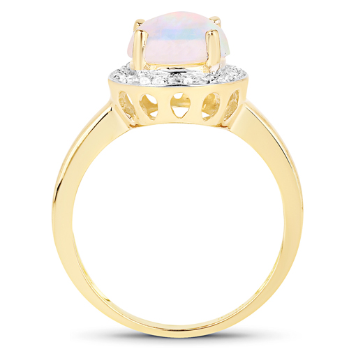 14K Yellow Gold Plated 1.47 Carat Genuine Ethiopian Opal & White Topaz .925 Sterling Silver Ring