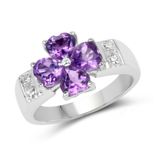 Amethyst-1.84 Carat Genuine Amethyst and White Topaz .925 Sterling Silver Ring