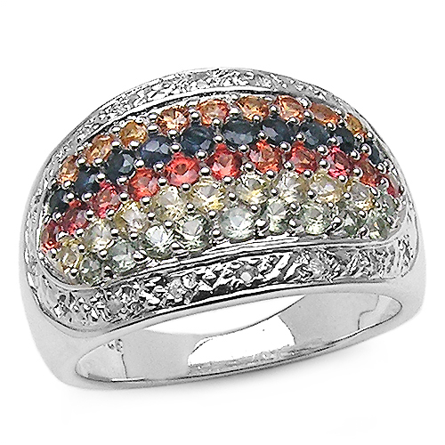 Sapphire-1.94 Carat Genuine Multi Sapphire .925 Sterling Silver Ring