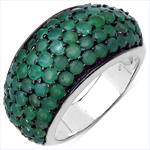 Emerald-2.90 Carat Genuine Emerald & White Diamond .925 Sterling Silver Ring