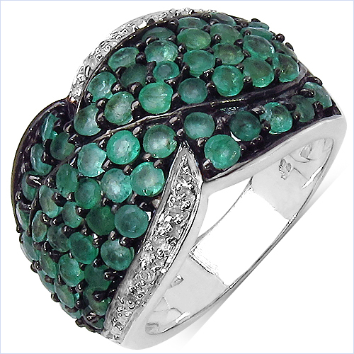 Emerald-2.28 Carat Genuine Emerald & White Topaz .925 Sterling Silver Ring