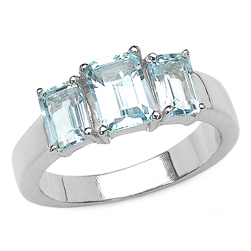 Rings-2.43 Carat Genuine Blue Topaz .925 Sterling Silver Ring