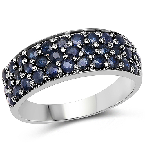 Sapphire-1.70 Carat Genuine Blue Sapphire .925 Sterling Silver Ring