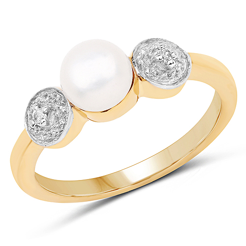 Pearl-14K Yellow Gold Plated 1.24 Carat Genuine Pearl and White Cubic Zirconia .925 Sterling Silver Ring