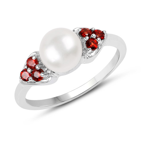 Pearl-2.55 Carat Genuine Pearl and Garnet .925 Sterling Silver Ring