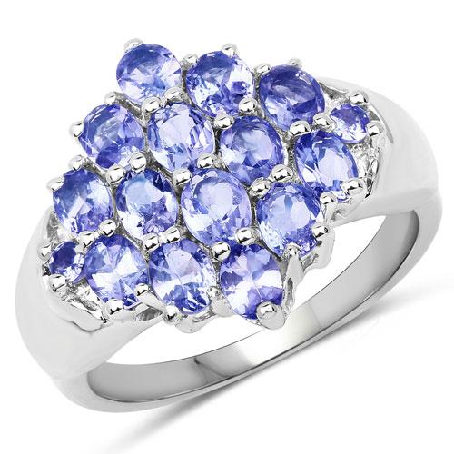 2.45 Carat Genuine Tanzanite .925 Sterling Silver Ring