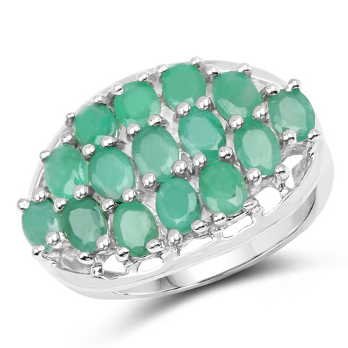 Emerald-2.10 Carat Genuine Emerald .925 Sterling Silver Ring